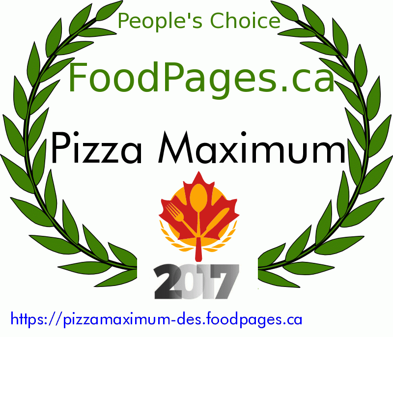 Pizza Maximum FoodPages.ca 2017 Award Winner